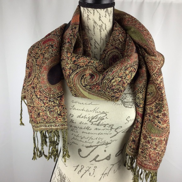 Pashmina paisley scarf in fall colors